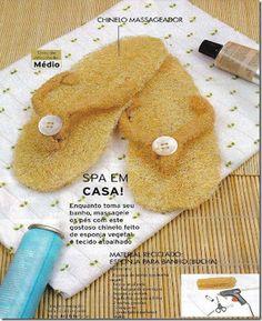Chinelo massageador de bucha vegetal! | Artesanato & Humor de Mulher
