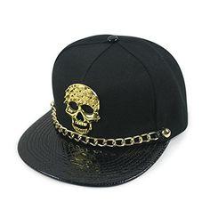 HAMANY Hip-hop Hat Adjustable Baseball Cap Skull Studded Snapback with Chain 09ec97e2c1e9