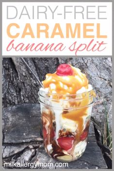 A dairy-free egg-free vegan banana split complete with chocolate syrup caramel syrup and ice cream! Milk Allergy Mom tips and recipe. Dairy Free Snacks, Dairy Free Eggs, Dairy Free Milk, Dairy Free Recipes, Milk Allergy, Egg Allergy, Egg Free Cakes, Peanut Recipes, Nut Allergies