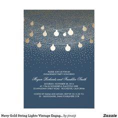 Navy Gold String Lights Vintage Engagement Party
