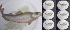 "Antique Victorian COD Porcelain Fish Plate Lot 6 Decal 8"" Gilded Gold Rims Exc #Victorian #Unknown"