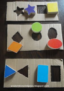 #Upcycle those cardboard boxes at home! Easy to make shape puzzles! #preschool #efl #education (repinned by Super Simple Songs)
