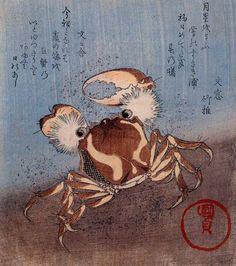 A Crab on the Seashore Artist: Utagawa Kunisada Style: Ukiyo-e Genre: animal painting