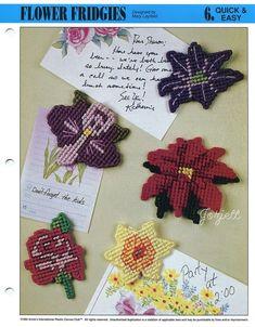 Flower Fridgies ~ Magnets Motifs Appliques, Annie's plastic canvas patterns #AnniesAttic