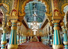 The corridors of Durbar Hall, Mysore Palace, India.. Over 100 years old, and still drawing admirers, everything in the Amba Vilas Palace in Mysore is grand. | M.A. Sriram.