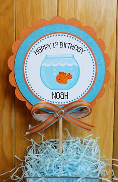 Goldfish Birthday Party Centerpiece by ExpressionsPaperie on Etsy, $8.50