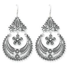 Sterling Silver Filigree Dangling Earrings by West Coast Jewelry