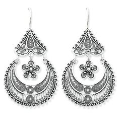 Sterling Silver Filigree Dangling Earrings by West Coast Jewelry