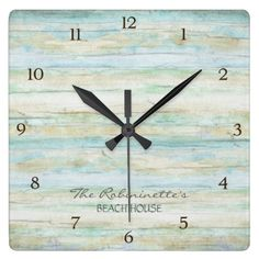 Driftwood Ocean Beach House Coastal Seashore Wall Clocks: COLOR PALETTE: Soft grey, blue and tan DESIGN COLLECTION: This entire collection of Beach House Home Décor Accessories can be personalized with your name, monogram or message. Use the easy to customize template fields. Hand painted in watercolor, this simple yet trendy driftwood, worn, faded, distressed antiqued wooden background has great texture and a modern vintage feel. #top50onzazzle