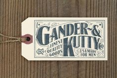 Gander & Kutty Co. by Jason Williams label type vintage clothing design