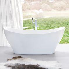 Caroma Cupid 1700 Freestanding Bath - curved vessel design  http://www.caroma.com.au/bathrooms/baths/cupid/cupid-1700-freestanding-bath