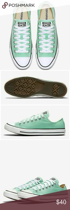 🆕Unisex Converse All Star Mint Green New in Box NWT Converse Chuck Taylor All Star Seasonal Color Low Top Unisex Shoe. Mint green color. Men's 11.5, Women's 13.5 (see measurement below). Never worn, brand new in box.   ℹ Approx 31.3 cm in length (measured across longest part of shoe from toe to heel) ℹ Converse Chuck Taylor usually runs half-size larger so would fit about Men's 11.5 to 12 Converse Shoes