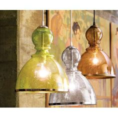 New lighting ideas {Hand blown Seeded Glass Pendant Light}.