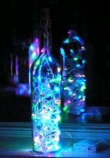 wine bottle light with neon pastel lights!