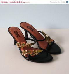 20% Off SALE Vintage Pink Black Leather Sandals / Pink Flowers / Made in Brazil / Size 6 1/2