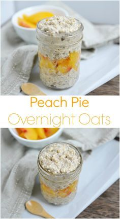 Peach Pie Overnight Oats | Overnight oats are perfect for busy mornings, because all the work is done the night before! All clean eating ingredients are used for this healthy breakfast recipe. Pin now to make later!
