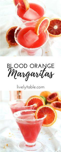 Celebrate citrus season with simple, gorgeous blood orange margaritas! via livelytable.com