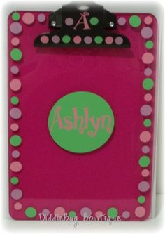 Personalized clipboard  www.facebook.com/diddlebugbowtique