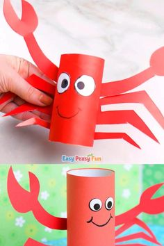 We're showing how to make another cute toilet paper roll craft for kids to make this one too perfect for summer! Ready? Let's make a paper roll crab craft. Halloween Crafts For Toddlers, Animal Crafts For Kids, Paper Crafts For Kids, Toddler Crafts, Preschool Crafts, Art For Kids, Craft Kids, Paper Towel Roll Crafts, Crab Crafts