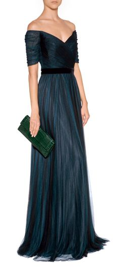 Simply stunning in ink-tinged silk, this floor-grazing gown from Jenny Packham is the ultimate in evening elegance #Stylebop