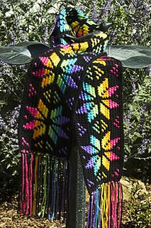 Stained Glass Snowflake Scarf, tapestry crochet pattern by Susan Lowman for sale on Ravelry
