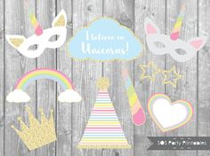 Unicorn Photo booth Props Unicorn Party Printables Unicorn Unicorn Birthday Decorations, Unicorn Birthday Parties, Unicorn Party, Unicorn Printables, Party Printables, Photobooth Props Printable, Unicorn Baby Shower, 11th Birthday, Surprise Birthday