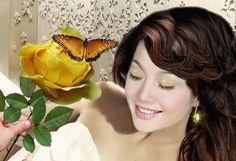 Анимация Девушка смотрит на розу с бабочкой, гифка Девушка смотрит на розу с бабочкой