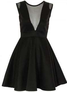Black Sleeveless Skater Dress with Mesh V Neck,  Dress, mesh cutout dress  black dress, Chic #USTRENDY #FASHION #STYLE