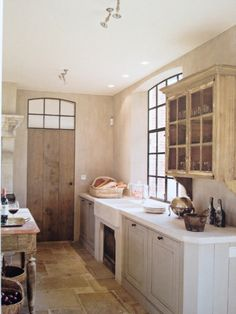 my walls look like this, love the palette, grey cabinets  limestone counter tops, apron sink, dark windows. etc. pp