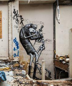 street artist and illustrator Phlegm, born in North Wales, now residing in Sheffield, UK Graffiti Artwork, Cool Artwork, Graffiti Artists, Sheffield Art, Monochrome, Street Art Banksy, Wonder Art, Best Graffiti, Street Art Photography
