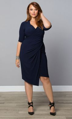 Plus Size Plus Size Fashion Turn up the heat in our Foxfire Faux Wrap Dress at Curvalicious Clothes