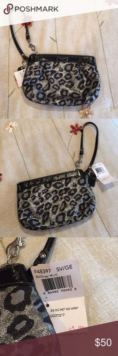 Coach Wristlet - Brand New with Tags! Adorable black and silver leopard print wristlet.  Brand new with tags, never been used.  Measurements are 7x4 with 6 inch wrist strap.  So cute! Coach Bags Clutches & Wristlets