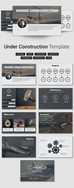 Choose a business presentation template to start from. Business Presentation Templates, Presentation Slides, Construction Tools, Professional Presentation, Urban Architecture, Slide Design, Layout Inspiration, Online Business, Editorial