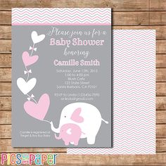 Pink and Gray Elephant Baby Shower Invitation  by PicsandPaper