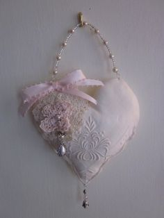 Items similar to Pretty little hanging heart pillow with pearls and crochet flowers on Etsy Christmas Hearts, Heart Pillow, Arts And Crafts, Diy Crafts, Heart Crafts, Hanging Hearts, Pin Cushions, Crochet Flowers, Pretty Little