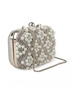 d464407c3d11 Gray Clutch with Pearls and Crystals by 5 Elements