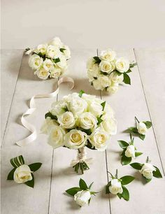 The Collection White Rose - Large Wedding Party Package Flower Bouquet Wedding, Bridesmaid Bouquet, Bridal Bouquets, All Flowers, Summer Flowers, Groom Buttonholes, Home Wedding, Wedding Images, White Roses