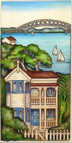 Mary Taylor Harbour Bridge Auckland etching art print NZ