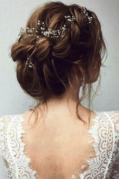 rustic wedding hairstyles bridal volume braided crown updo decorated with baby breath ulyana aster via instagram