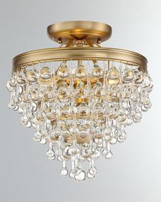 Crystorama Lighting Group Rylee Antique Gold Three Light Flush Mount With Hand Cut Faceted Crystal Beads 600 Ga Semi Flush Lighting, Semi Flush Ceiling Lights, Ceiling Lighting, Hall Lighting, House Lighting, Office Lighting, Bedroom Lighting, Crystal Beads, Crystals