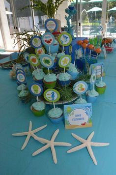 Cupcakes at an under the sea birthday party! See more party planning ideas at CatchMyParty.com!