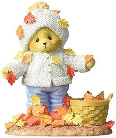 """Enesco Cherished Teddies Collection Bear Playing with Leaves Figurine, 4.125"""""""