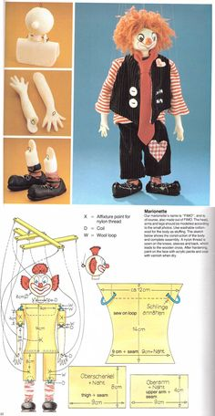 Simple instructions to make a clown marionette using polymer clay and cloth.