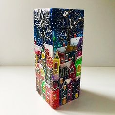 Your place to buy and sell all things handmade Bottle Painting, Bottle Art, Christmas Vases, Christmas Decor, Painted Glass Vases, Glass Painting Designs, Stained Glass Paint, Stained Glass Christmas, Glass Art