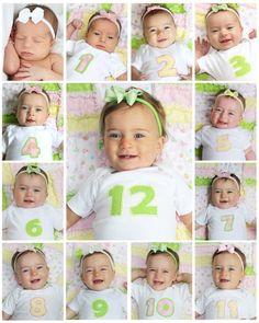 Que tal tirar fotos do seu baby todos os meses e no final criar um divertido mosaico. Estou fazendo das minhas meninas, e você? Selecionei algumas fotinhas divertidas para inspiração.          Dica: Coloque o bebê em algum lugar em que se sinta confortável, assim irá conseguir mais sorrisos pras suas fotos.