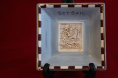 Ceramic TRINKET Dish JEWELRY Tray Ship Boat Gold Trim Ship SET SAIL Decor Men
