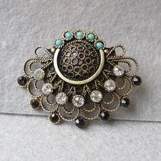 Jerusalem Gilt Sterling Cannetille Vintage Pin Brooch, Paste & Faux Turquoise