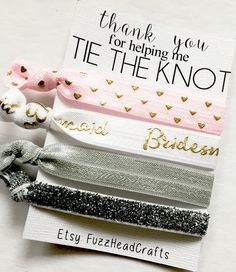 use idea and label and make my own- add to bridesmaid kit i make  https://www.etsy.com/listing/264547391/thank-you-for-helping-me-tie-the-knot?ga_order=most_relevant