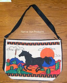 """Purse Handbag Desert Pony / Horse Southwest Cotton Canvas 13x19"""" Zips Big roomy purse. Colorful running pony desert design is nicely printed on both sides of the bag. Just 21.95 w/ free shipping w/in USA #handbag #purse #horse"""