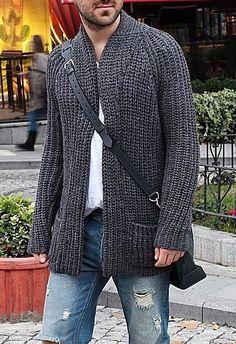 Mens Fashion Sweaters, Mens Fashion Wear, Gents Fashion, Men Sweater, Crochet Jacket Pattern, Gilet Long, Men's Coats And Jackets, Casual Street Style, Knitwear
